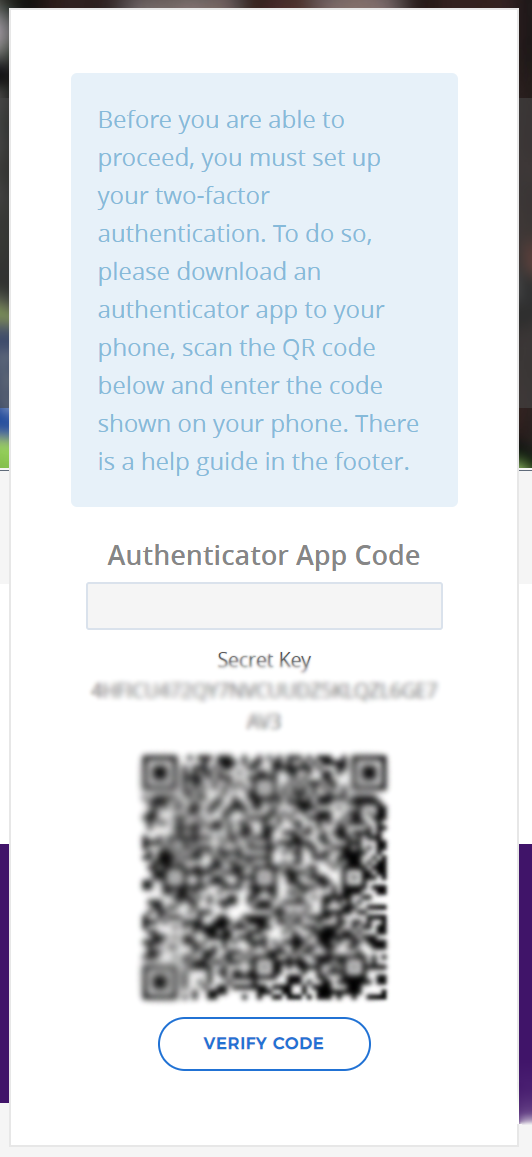 Knowledge Hub two-factor authentication setup screen